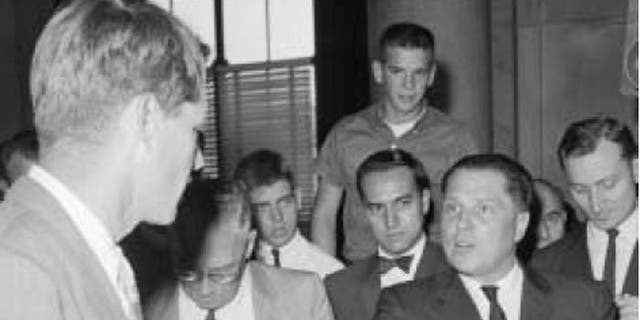Jimmy Hoffa, shown here in speaking to Robert F. Kennedy, was one of the most powerful men in America when he disappeared. (Courtesy: Chip Fleischer, Steerforth Press)