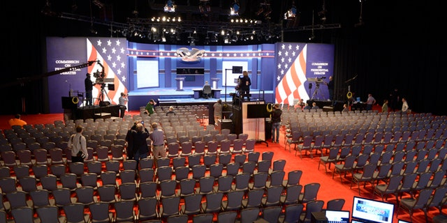 Sept. 25, 2016: A look at the stage inside the debate hall at Hofstra University in Hempstead, NY.