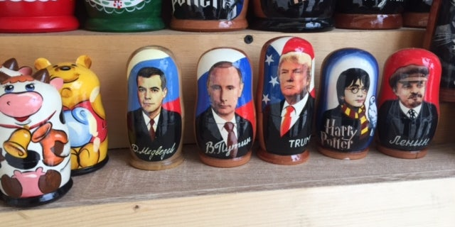 Russian nesting dolls with Trump's image on them.