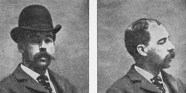 Front and profile portraits of Herman Webster Mudgett, alias H.H. Holmes, from book, titled The Holmes-Pitezel Case, a History of the Greatest Crime of the Century.