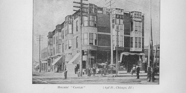 Exterior view of residence of Herman Webster Mudgett, a.k.a. H.H. Holmes, on 63rd Street. Mudgett's home was named the Murder Castle. Published in a book titled The Holmes-Pitezel Case: A History of the Greatest Crime of the Century.