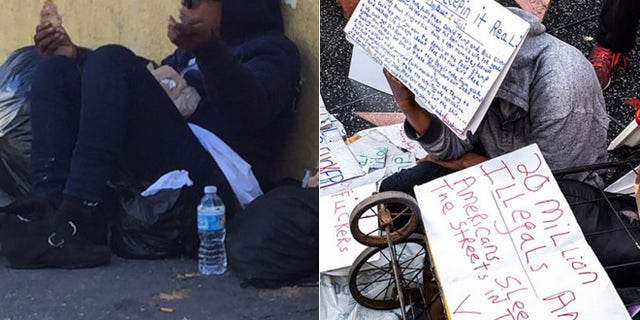 Now ... and then: Scott, in a recent photo at left, still battles to stay off the streets despite an outpouring of aid that followed her defense of Trump's star (r.).