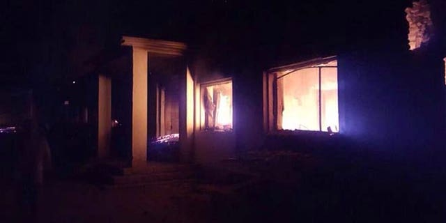 The Doctors Without Borders trauma center is seen in flames, after an explosion near their hospital in the northern Afghan city of Kunduz.