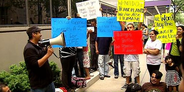 Protesters outside the Northwestern Memorial Hospital in Chicago.