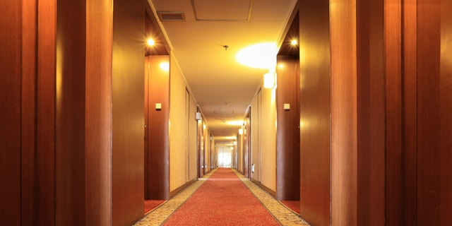 corridor with carpet in a hotel