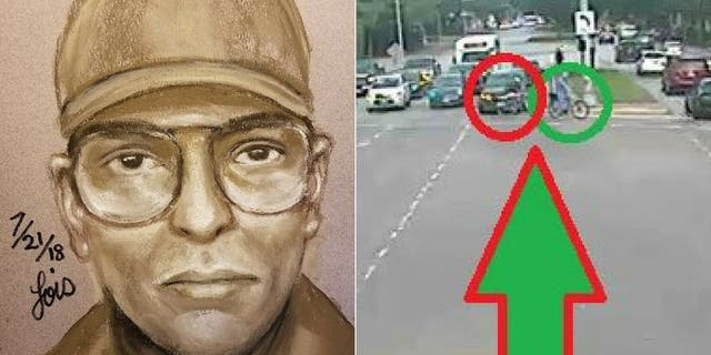Authorities have released a sketch and surveillance images showing the gunman wanted in connection with Hausknecht's death.