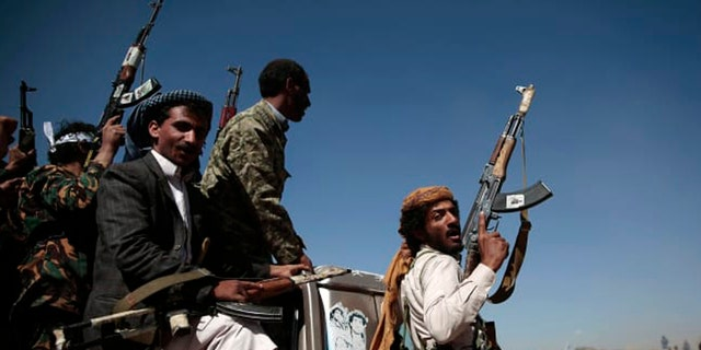 Newly recruited Shiite fighters, known as Houthis, mobilise to fight pro-government forces, in Sanaa, Yemen.