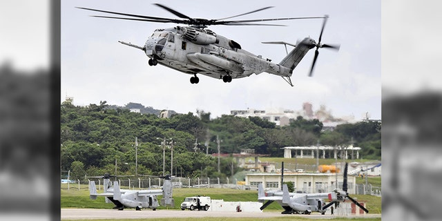 This Oct. 2017 photo shows U.S. Forces' CH53E helicopter in Ginowan, Okinawa.