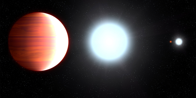 Artist's illustration showing the scorching-hot exoplanet Kepler-13Ab, which circles very close to its host star, Kepler-13A. In the background is the star's binary companion, Kepler-13B; the third member of the multiple-star system is the orange dwarf star Kepler-13C.