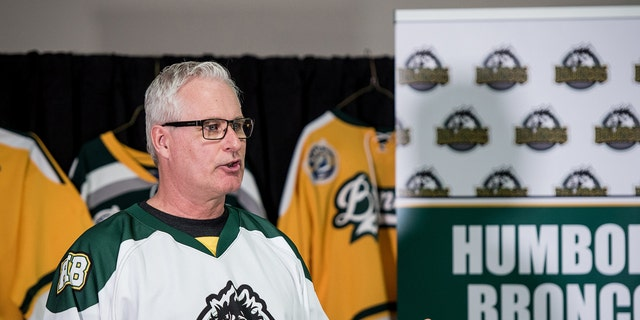Mayor of Humboldt Rob Muench speaks with members of the community and media during a press at the Elgar Petersen Arena in Humboldt Saskatchewan, Canada, April 7, 2018