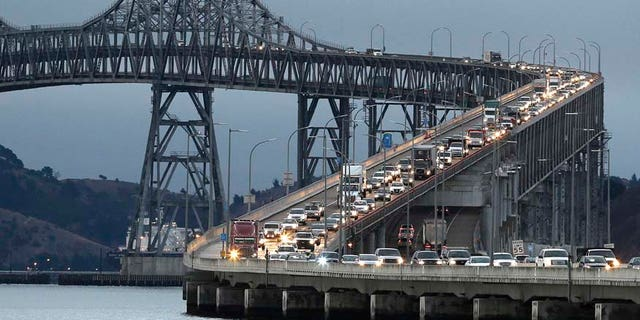 In this Aug. 29, 2013 file photo, traffic slows in the morning commute over the Richmond-San Rafael Bridge in San Rafael, Calif.