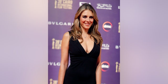 British actress Elizabeth Hurley, seen above in November 2017, took some heat online for her cleavage-baring dress.