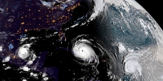 Hurricane Irma approaching Cuba and Florida with Hurricane Katia, left, and Hurricane Jose, right, in the Atlantic Ocean.