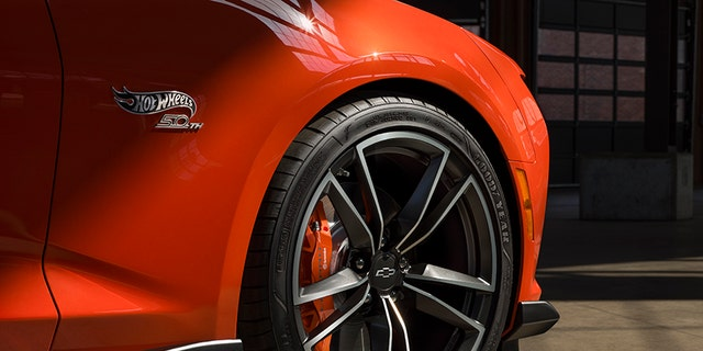 Hot Wheels 50th Anniversary logos adorn the fenders in a not so subtle way.