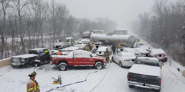 I-91 southbound after a multi-vehicle crash in Middletown Saturday. (Connecticut State Police)
