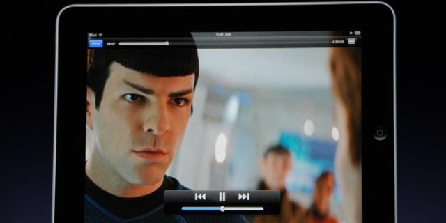"""During the iPad launch event, Steve Jobs demonstrates movie playback on the tablet device with a clip from the latest """"Star Trek"""" film."""
