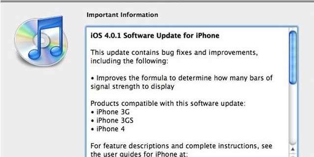 """A just released software patch for the iPhone updates the system software to version 4.0.1, which """"improves"""" the way the iPhone displays signal strength."""