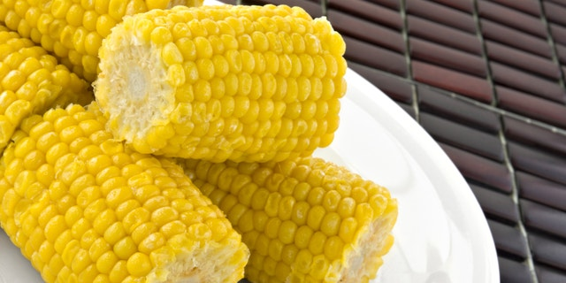 Fresh cooked organic corn on the cob.