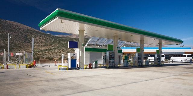 Modern gas station in the Taurus Mountains, Turkey, polarizing filter applied