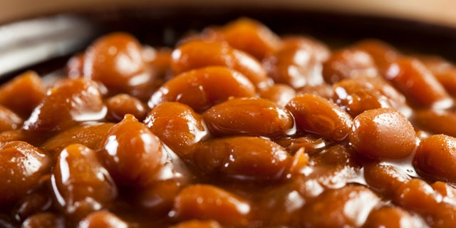 Homemade Barbecue Baked Beans with pork in a bowl