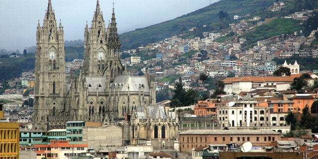 La Basilica del Voto Nacional in Quito, Ecuador. Neo-Gothic architecture. In Centro Historico, the Old Town. Quito is a UNESCO World Cultural Site.