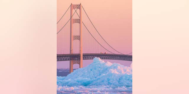 Dustin Dilworth captures a photo of giant blue ice chunks forming along the Straits of Mackinac in Michigan.