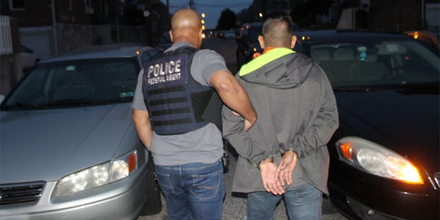 ICE agents carry out an operation in May that they say targeted 'criminal aliens and immigration violators' in the Philadelphia area.