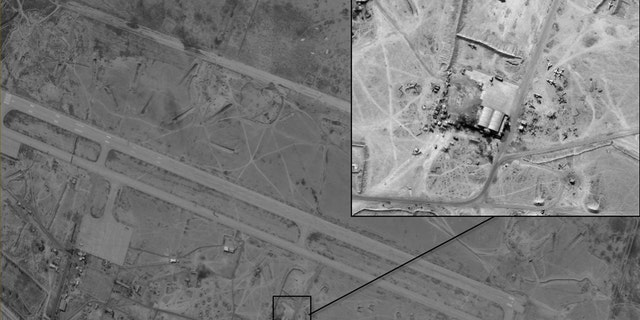 The Deir ez-Zor base in Syria, where Israeli defense officials say planes have been pictured transporting weapons from Iran to Syria.