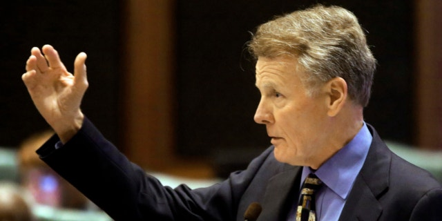 May 24, 2013: Illinois Speaker of the House Michael Madigan, D-Chicago, argues concealed carry gun legislation while on the House floor during session at the Illinois State Capitol in Springfield Ill.