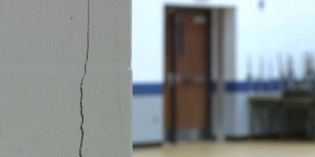 Cracks seen in Wolf Branch Middle School in Swansea, Illinois.