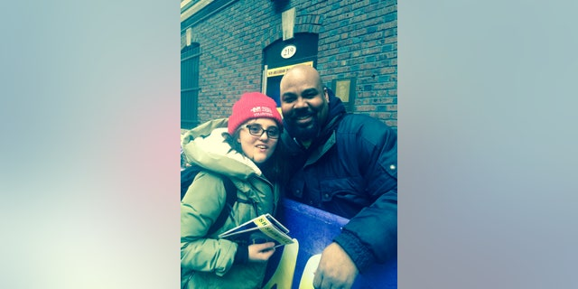 """Albers at the """"Aladdin"""" stage door with James Monroe Iglehart, who plays the Genie."""