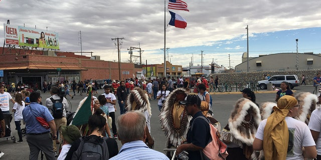 Hundreds of people march to the Paso Del Norte bridge in El Paso, calling for the reunification of families. The protests across the country largely seemed to be peaceful, based on scattered media reports.
