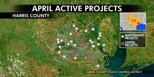 The Harris County Flood Control District has 39 active construction projects to mitigate the impact of floods.