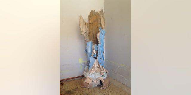Statue of Mary used as target practice, Batnaya, Nineveh Plain, Iraq.