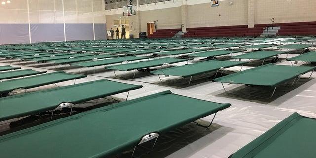 Hundreds of cots fill a gymnasium on Camp Lejeune's base.