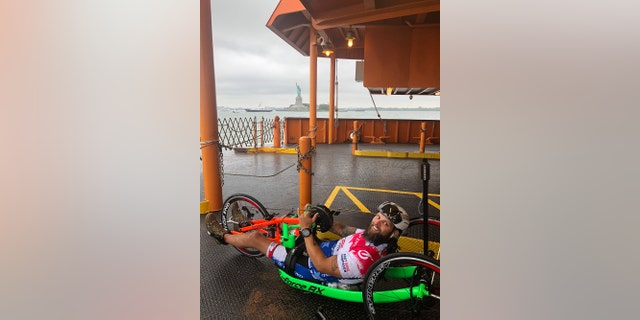 Raley's journey started in New York City on Aug. 13 and he has been handcycling approximately 130 miles a day.