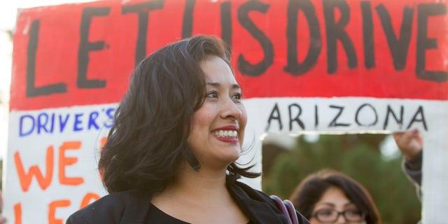 Dec. 17, 2014: Dulce Matuz celebrates at the Arizona State Capitol.