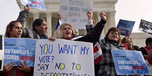 Jan. 15, 2016: Members of CASA de Maryland participate in a immigration rally outside the Supreme Court in Washington.