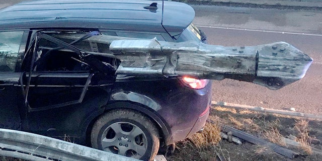Anyone in the front passenger seat or behind the driver would've been hit straight on by the guardrail.