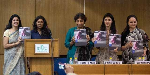 "From left to right, Human Rights Watch (HRW) activists Shantha Rau Barriga, Meenakshi Ganguly, Bhargavi Davar from Bapu Trust for Research on Mind and Discourse, HRWs Kriti Sharma, and Smriti Minocha from Human Rights Law Network, release a report titled ""Treated Worse than Animals: Abuses against Women and Girls with Psychosocial or Intellectual Disabilities in Institutions in India"" in New Delhi, India, Wednesday, Dec. 3, 2014. (AP Photo /Manish Swarup)"
