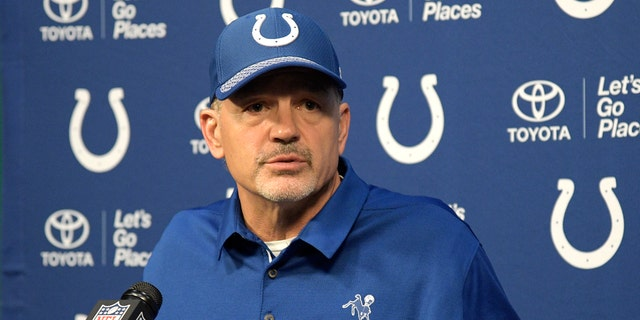 Indianapolis Colts head coach Chuck Pagano answers a question from a reporter during a post-game news conference after an NFL football game against the Jacksonville Jaguars Sunday, Dec. 3, 2017, in Jacksonville, Fla. The Jaguars won 30-10.