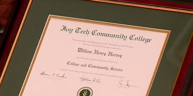 The honorary college degree given to William Henry Harvey as a thank you for his time in the military during World War II.