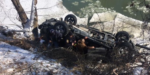 A 66-year-old man survived after his truck plunged into an icy river in Indiana.