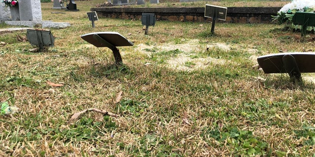 80 graves belonging to infants are only marked with small paper and metal signs at West Hill Cemetery.