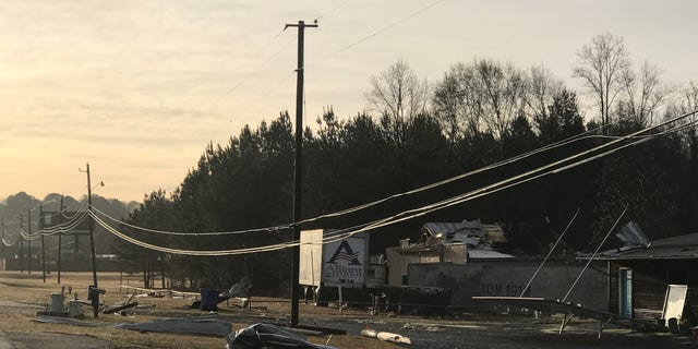 Storm damage in Mendenhall, Miss.