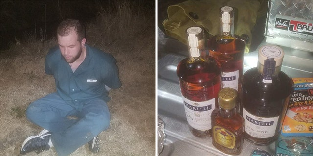An inmate who escaped from a federal prison was caught with booze, pre-cooked food, tobacco trying to return.