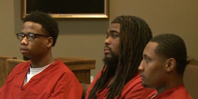 Three convicted murderers of a 7-year-old girl are sentenced in Memphis, Tenn., Feb. 9, 2018. From left are Branden Brookins, 22; Carlos Stokes, 25; and Jordan, 24.