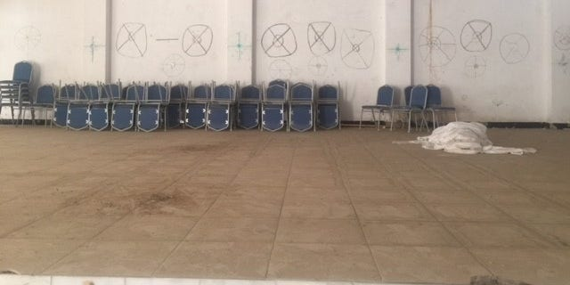 ISIS used the church hall as a shooting practice range.