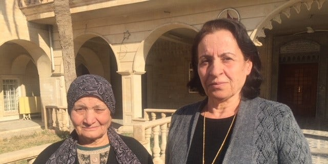Mariam Ishaq, 58, and Faiza Yaaqoub, 68, both born and raised in Bahzani, see no future for themselves there and want to leave.