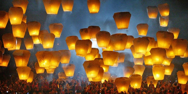 The Pingxi International Sky Lantern Festival, Taiwan is held in February.
